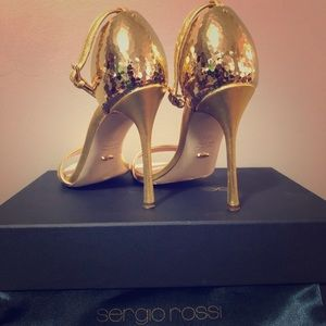 Sergio Rossi Gold Metal Detailed Heeled Sandals